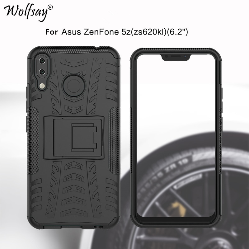 Wolfsay para capa de telefone asus zenfone 5z/zenfone 5 ze620kl caso antiknock silicone caso armadura para asus zenfone 5z zs620kl capa
