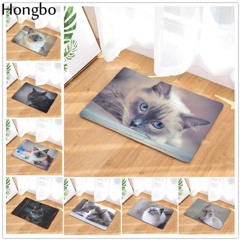 Hongbo moderno lindo gato de felpudo para entrada estera de puerta al aire libre alfombra de bienvenida a casa de baño cocina piso antideslizante polvo