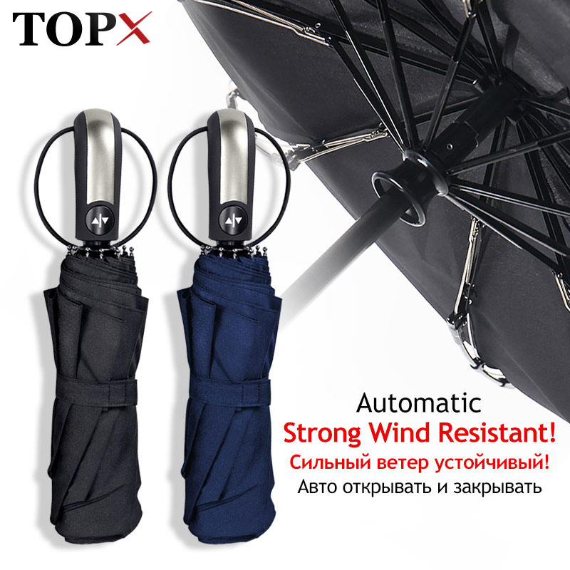 Wind Resistant Umbrella Rain Women For Men Gift 3Folding Fully-Automatic Parasol Compact Large Trave