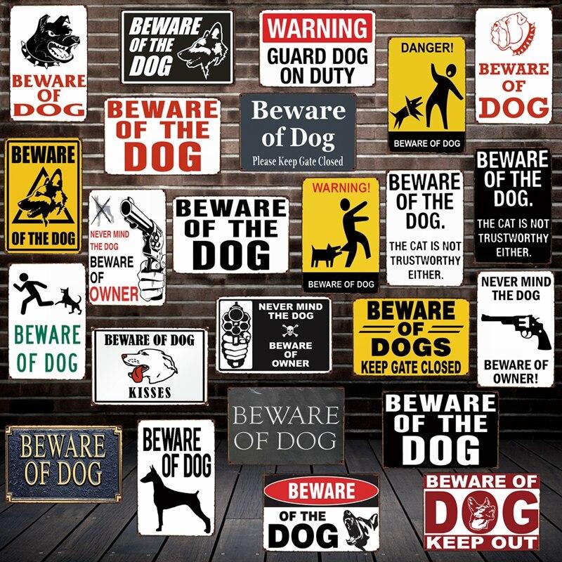 [Mike86] méfiez-vous du chien garde en service avertissement DANGER métal étain signe Plaque murale affiche peinture noël décor Art FG-519