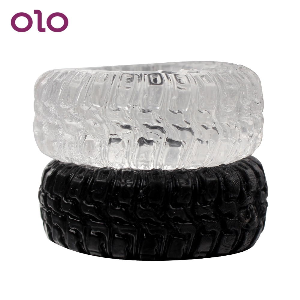 Кольца для пениса OLO с силиконовыми шинами, интимные игрушки для мужчин, товары для взрослых, задержка эякуляции, черные/прозрачные, 2 шт./компл.
