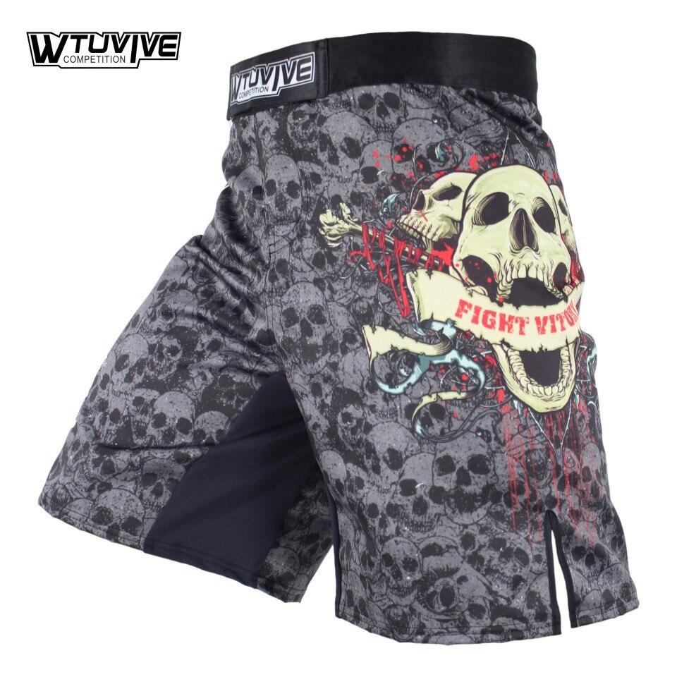 WTUVIVE MMA Boxing Fitness deportes Squat esqueleto personalidad lucha pantalones cortos tailandés boxeo mma pantalones cortos de lucha mma sanda