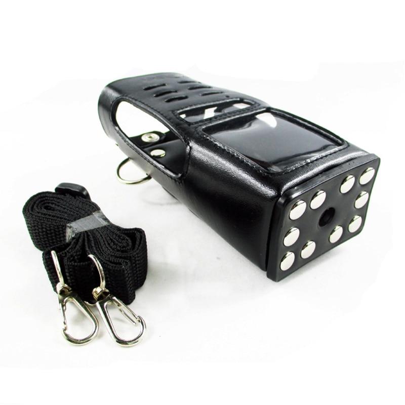 Two Way Radio Leather Protective Sleeve Shoulder Bag Hard Holster Case For Motorola GP338 GP360 GP380 HT1250 Walkie Talkie