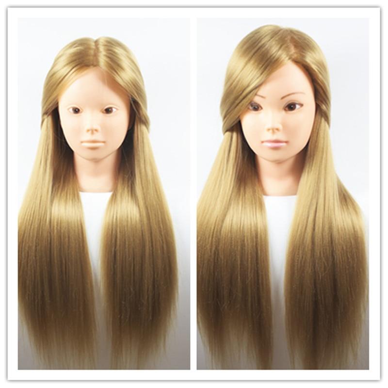 Professional Styling Mannequin Head Thick Golden Hair Maniqui Wig Head For Bridal Hairdo Dolls Head Training Head Dummy 65cm