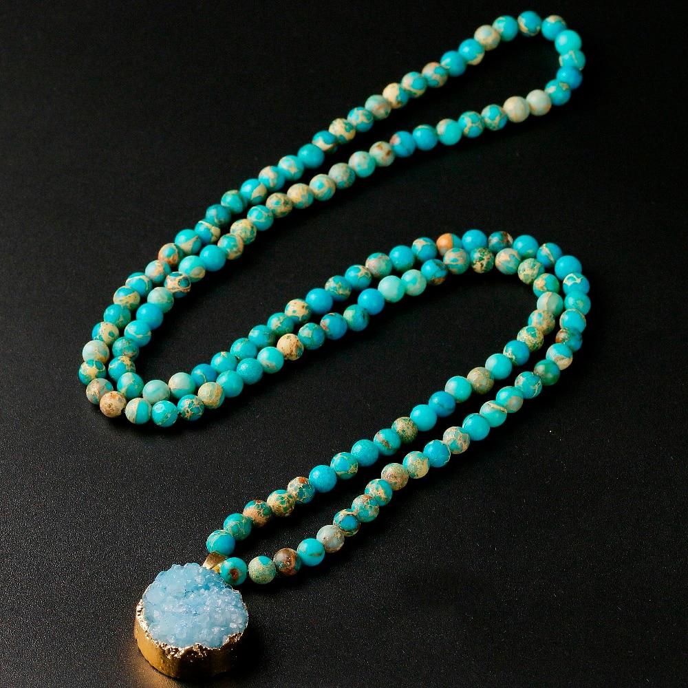 Sedimentos marinos naturales, cuentas de 6 MM, piedra Imperial con colgante Druzy, collar con amuleto para mujeres y hombres, joyería Unisex, regalo de amante