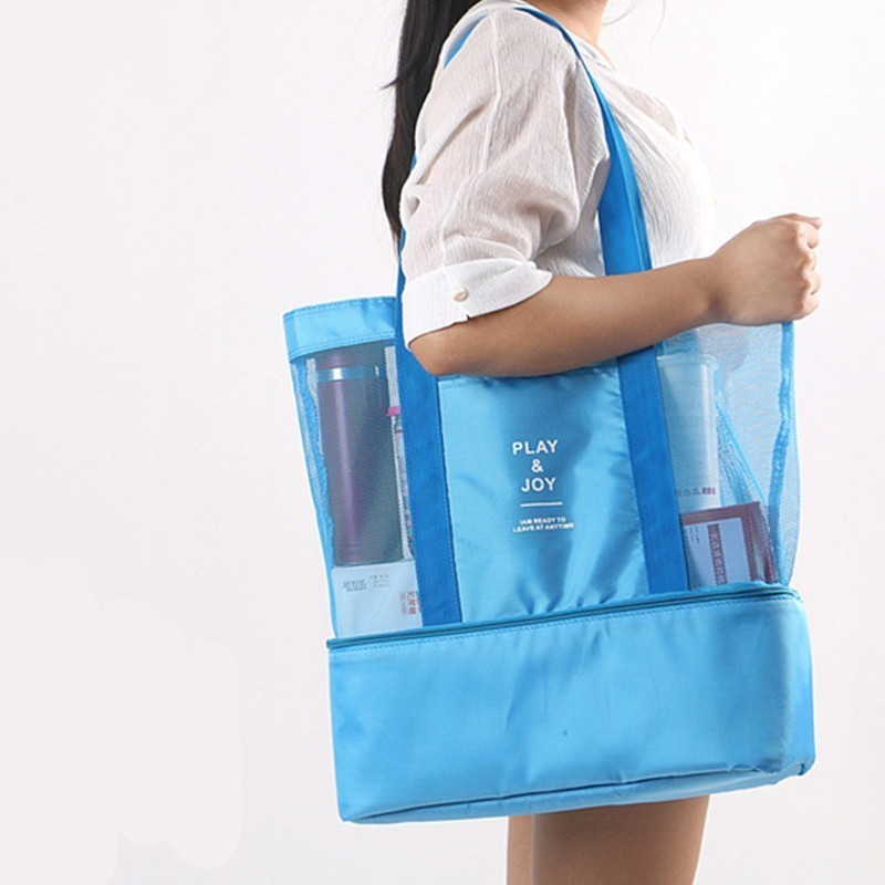 Women Swimming Bag Rucksack Handbags Dry Wet Shoulder Bag Multifunctional Beach Pool Pouch Mesh Bag for Picnic Swimming Travel