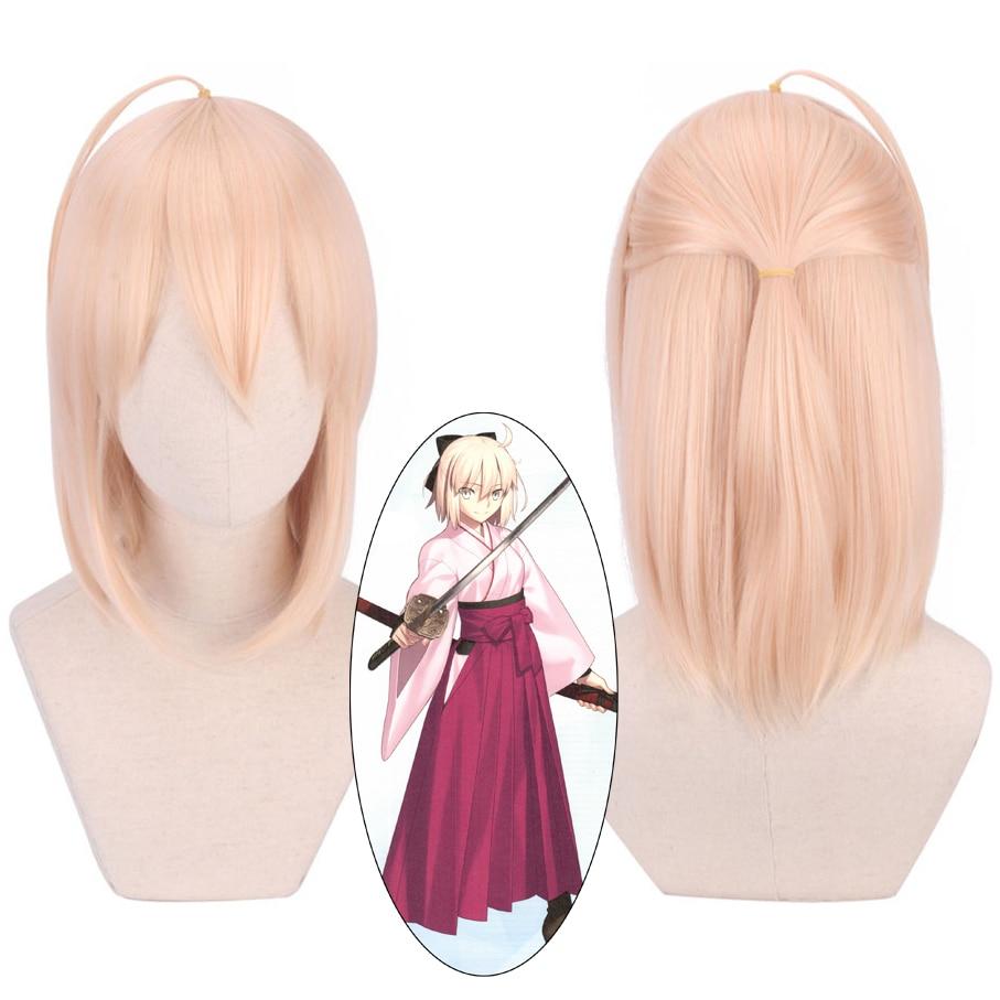 FGO Fate Grand Order Cosplay Wig Sakura Saber Okita Souji Synthetic Hair