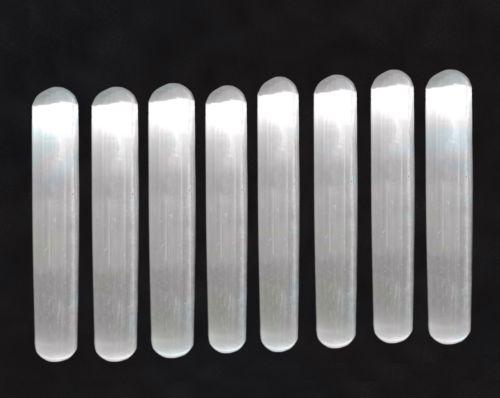 """5PCS  Natural Selenite Crystal Massage Wand """" Smooth Polished Healing Crystal LOT of"""