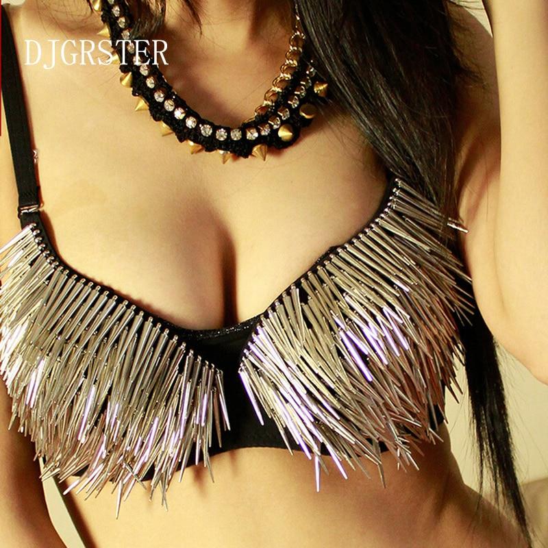 Бюстгальтер DJGRSTER Женский, золотого и серебряного цвета, с шипами и заклепками, для вечеринок, клубная одежда