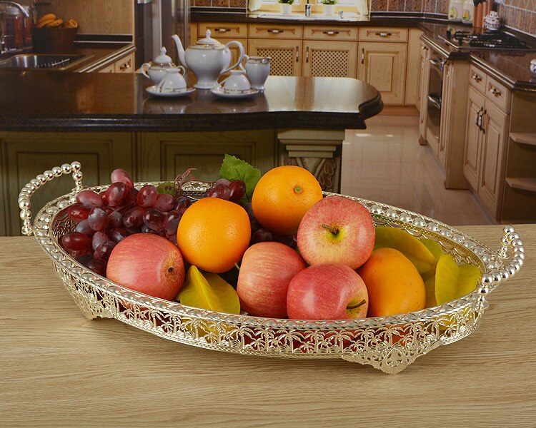 46*30cm large size silver plated metal  fruit plates fruit trays decoration for wedding home decoration Serving Trays  SG045