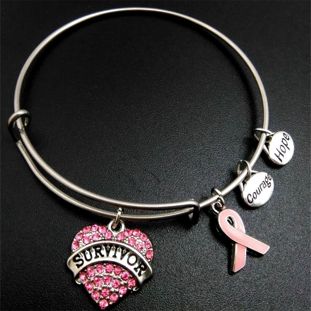 Мой розовый браслет из нержавеющей стали в форме ленты, браслет из расширяемой проволоки, подарок для женщин