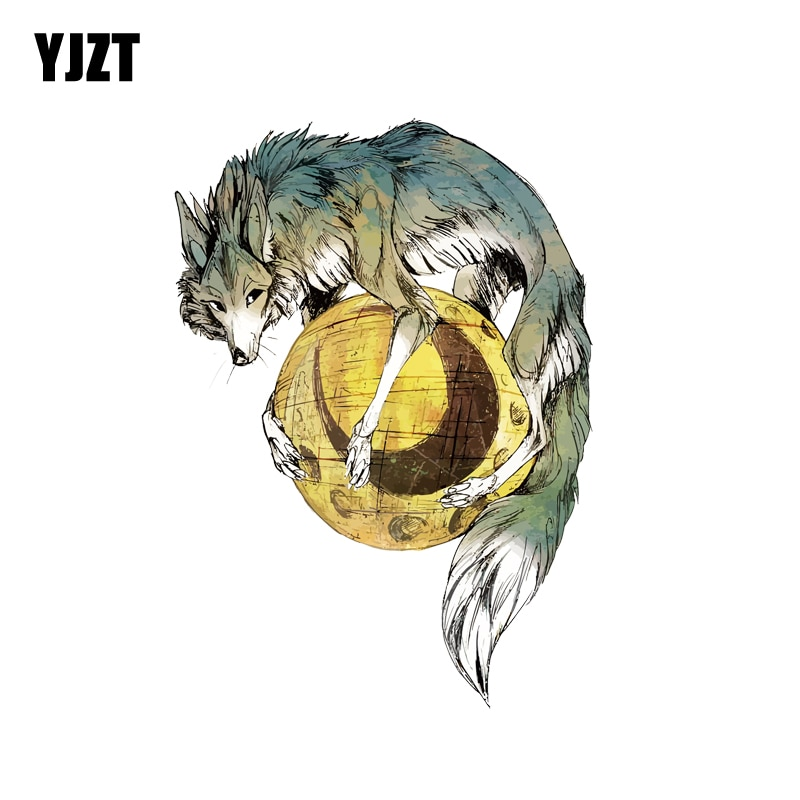 YJZT  11CM*15.5CM  Wolf Holding Moon Decal PVC Motorcycle Car Sticker 11-00552
