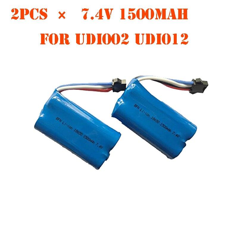 EBOYU 2 uds * 7,4 V 1500mAh Lipo batería para Udi RC UDI002 UDI012 y UDI 902 HongXunJie HJ806 RC barco