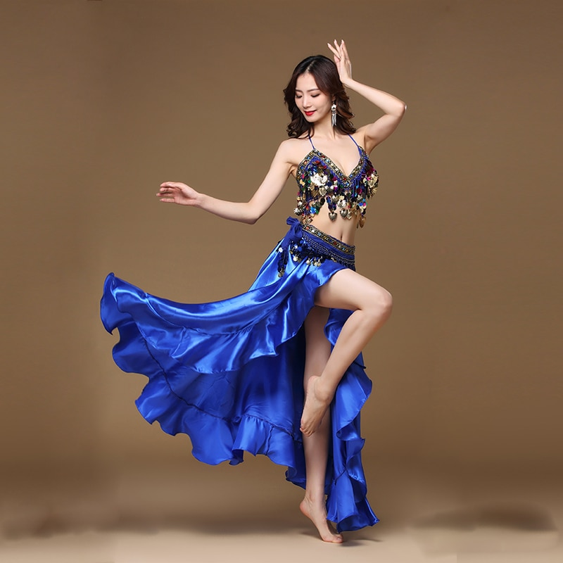 New Adult Lady women Belly Dance Costume Oriental bellydance skirt Stage Performance 3pcs set Bra Be