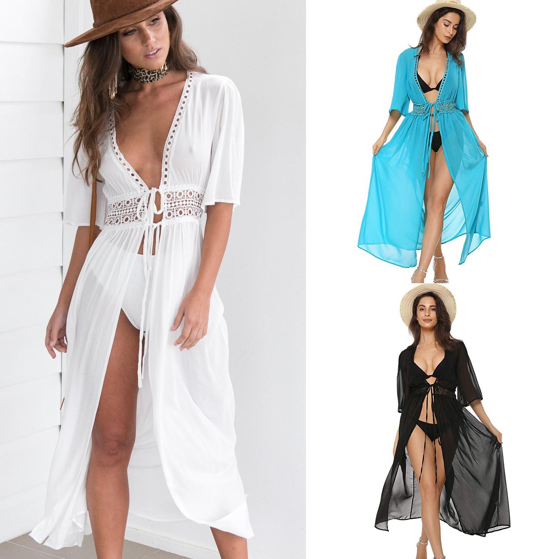 3 farbe Sexy Bikini Cover Up Frauen Strand Kleid 2019 Bademode Chiffon Plus Größe Badeanzug Maxi Kleid Bandage Kimono strickjacke