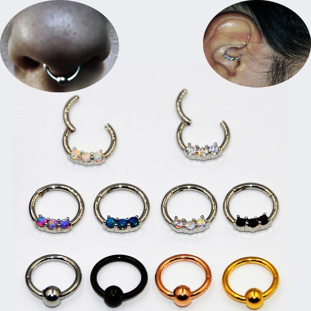 Bog-1 peça de aço cirúrgico opala/zircão septo clicker labret anel nariz cartilagem brinco 16g piercing jóias