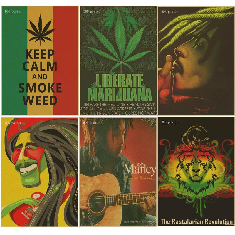 Retro poster keep calm and smoke weed poster Bob marley/Jamaican reggae kraft brown paper  vintage posters bar room decor