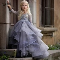 long sleeves flower girl dress with 3d floral appliques lace ball gowns for princess birthday party gown vestidos custom made