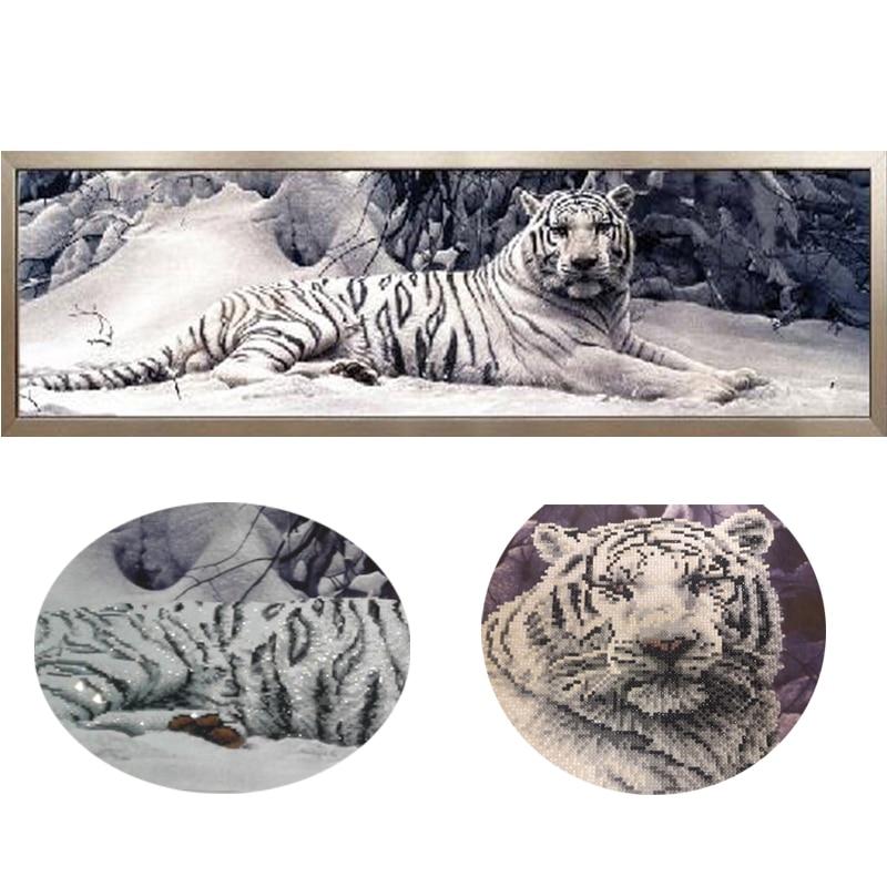5D Diy pintura de diamantes punto de cruz tigre blanco redondo mosaico de diamantes bordado animales Home pinturas aficiones de artesanías