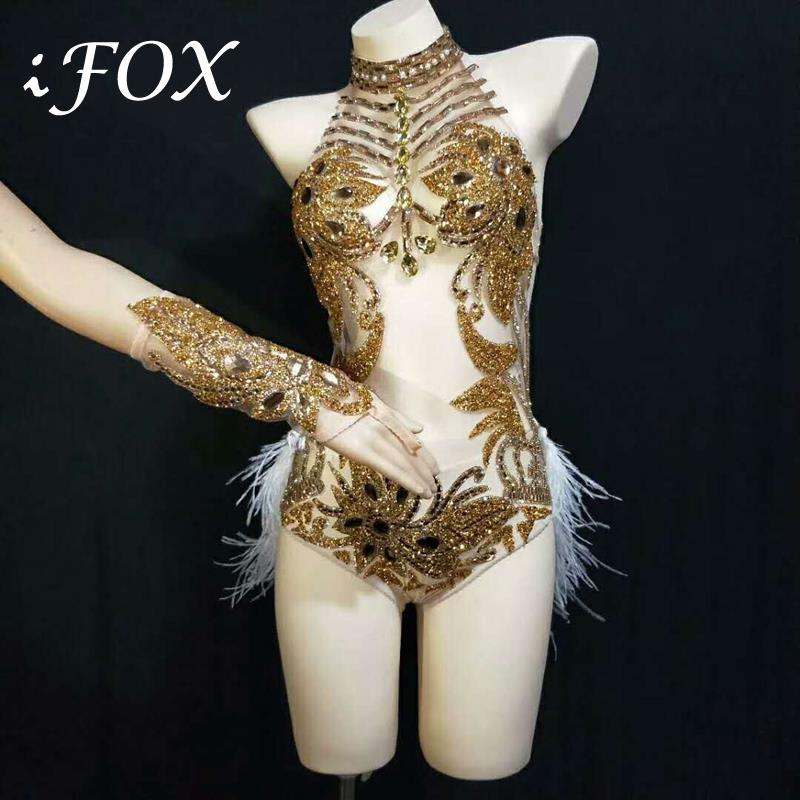 Gold Silver Rhinestones Halter See Through Mesh Bodysuit Feather Tail Outfit Birthday Celebrate Nightclub Singer Dance Outfit