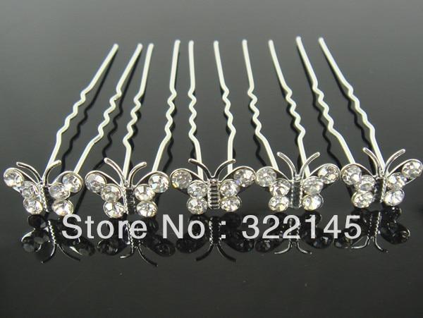50Pcs Wedding Bridal Butterfly Crystal Hair Pins