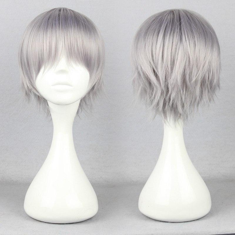 Nagisa Kaworu pelo de Neon Genesis Evangelion pelo Nagisa Kaworu Cosplay cabello gris para hombre de Neon Genesis Evangelion Concha sombreros