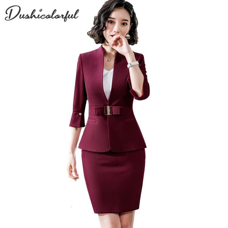 Женский костюм с юбкой Dushicolorful, деловой костюм из двух предметов, Черная форма с юбкой, весна-лето 2019