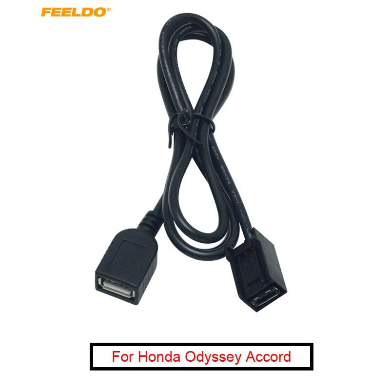 FEELDO 1PC del coche AUX adaptador de cable USB macho hembra Puerto cable de extensión para Mitsubishi Lancer Honda Civic/Acuerdo/Odisea