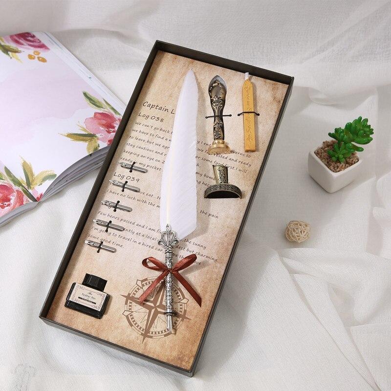 1 Juego de pluma de caligrafía inglesa juego de pluma para estudiantes escribir pluma estilográfica papelería caja de regalo Vintage pluma de ganso blanco regalo