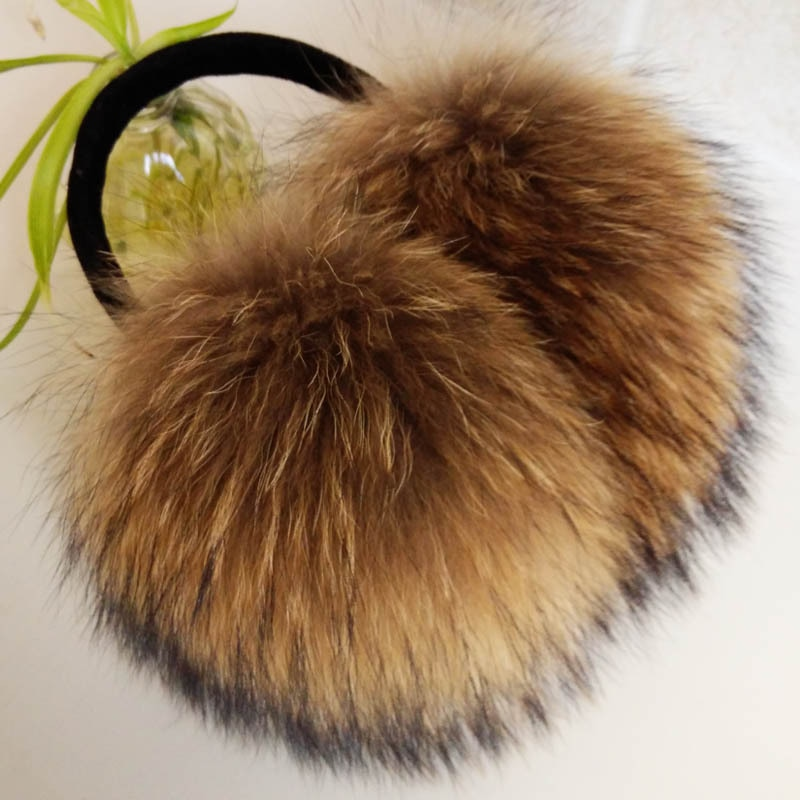 2020 new FXFURS Oversized really big raccoon fur earmuffs Korean real fur earmuffs lovely personality plush fur  ear cover  warm