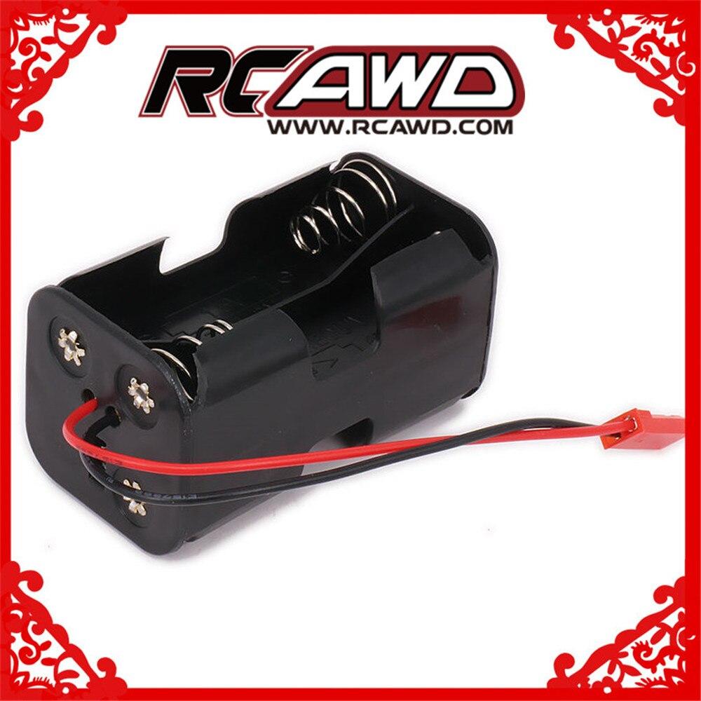 Caja de la caja del paquete de la batería del receptor 4 x AA JST compartimiento del inserto de la batería para 1/8 1/10 1/16 RC Hobby modelo Nitro Car HSP