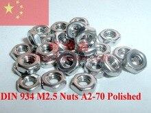Гайки из нержавеющей стали M2.5 DIN 934 A2-70 полированные 100 шт ROHS