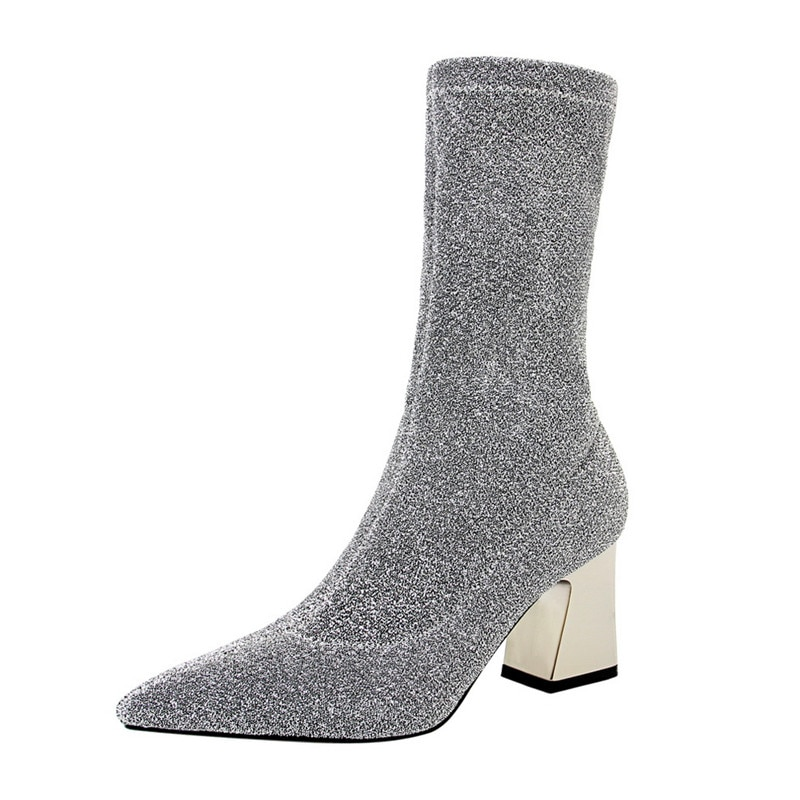 Botas de salto alto botas de salto alto botas de salto alto botas de salto alto de prata bling