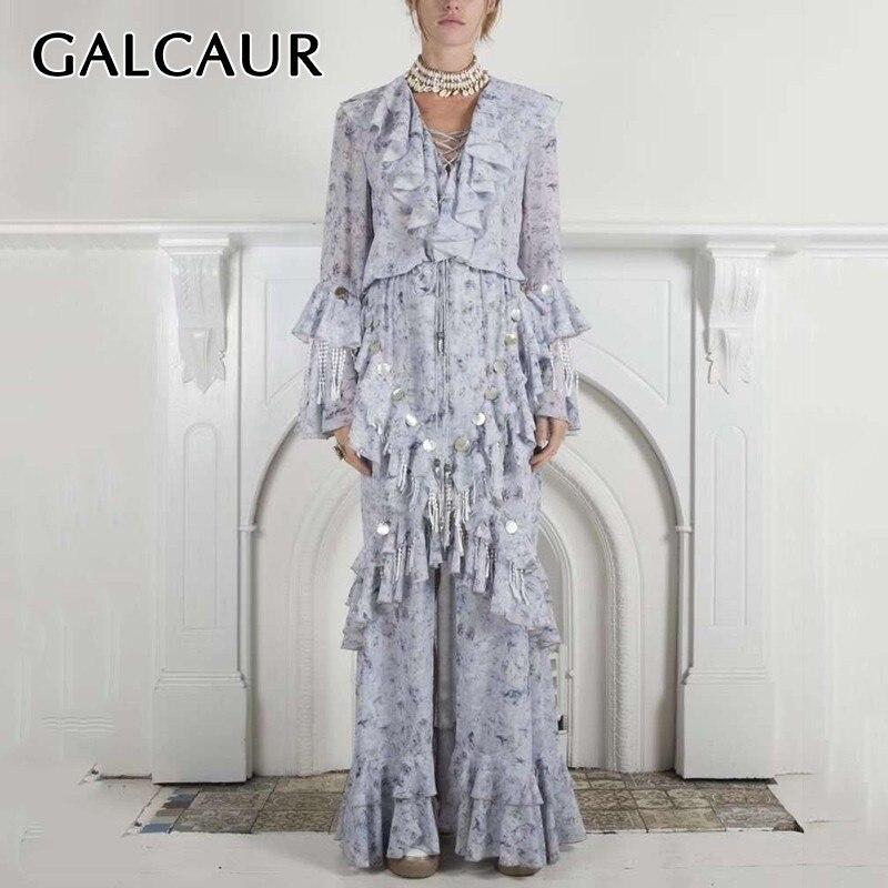 GALCAUR été Sequin Patchwork robes pour femmes col en V Flare à manches longues volants une ligne robe de soirée mode féminine nouveau 2020