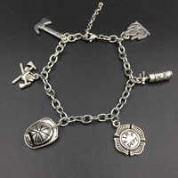 inspired firefighter fireman charms bracelets stainless steel adjustable link chain supernatural diy jewelry