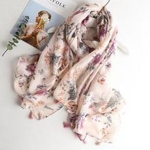 VISROVER-robe de plage en viscose   Écharpe dété pour femmes, châle, imprimé tropical, hijab, haut et flamand rose, foulards en gros