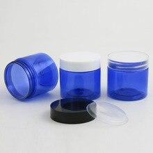 50x60g Leere Blau PET Flasche Creme Jars Container 2 unzen Kobaltblau Kosmetische Verpackung mit Kunststoff deckel weiß Schwarz Klar Kappe