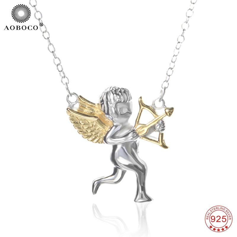 AOBOCO 925 Sterling Silver Pendants Necklaces Choker Lovely Cute Angel Cupid Arrow Pendant Luxury Jewelry Women Necklace GNX0417