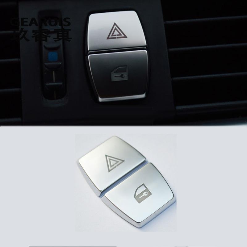 Pegatinas para marco de coche con botones de luz de advertencia frontal interior para BMW serie 5/6/7 f10 GT F07 F01 F02 accesorios para automóviles