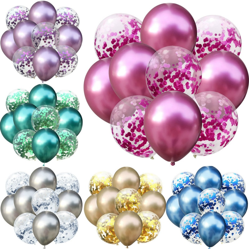 10pcs/lot 12 inch 5PCS Metal Color +5PCS Confetti Latex Balloons Kids Baby Birthday Party Decoration Balloons Cartoon Hat Toy