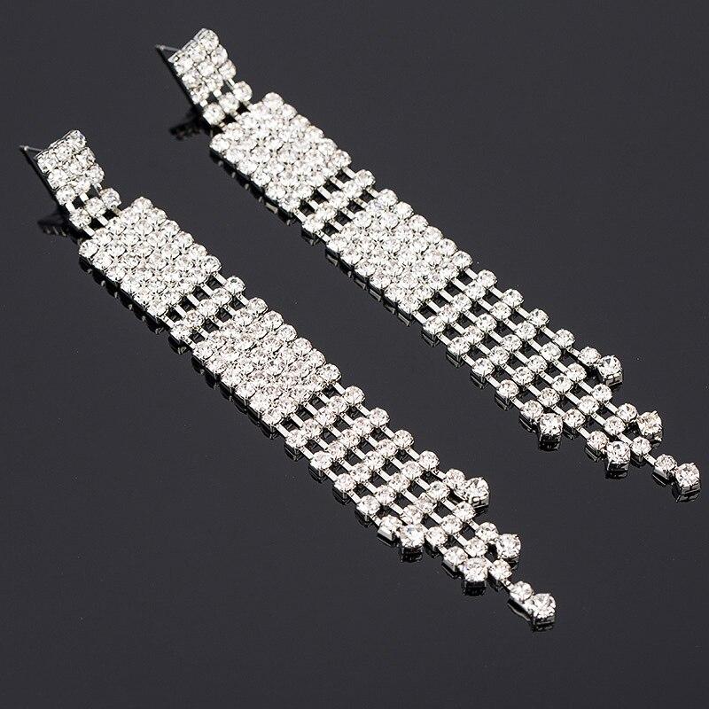 ¡Novedad! Pendientes largos brillantes de diseño, joyería nupcial de lujo de diamantes de imitación Color plata # E328