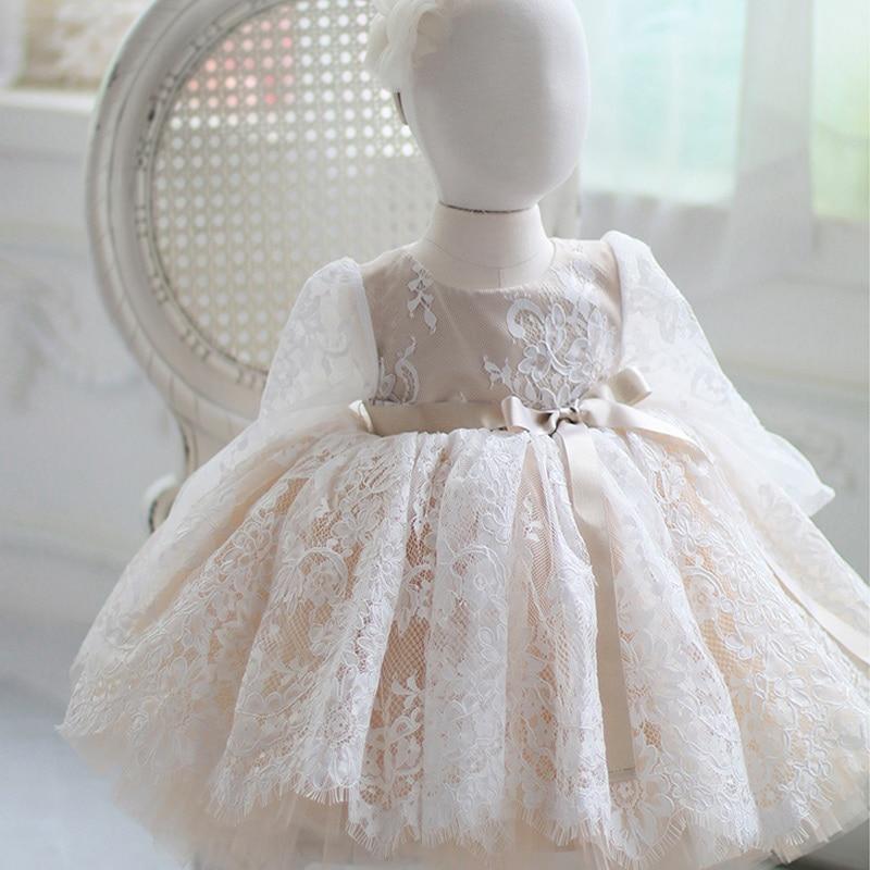 فستان تول طويل الاكمام لحديثي الولادة ، فستان التعميد ، فستان عيد الميلاد الأول ، للحفلات الراقصة