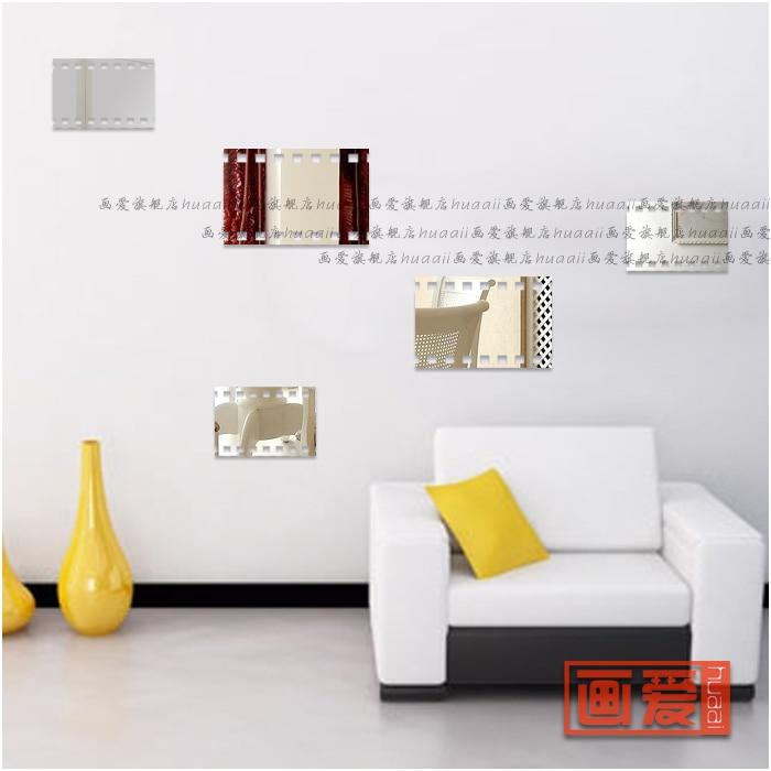 Mirror acrylic three-dimensional wall stickers bathroom elegant decoration mirror (6 pcs 2 S +2 M + 2 L)