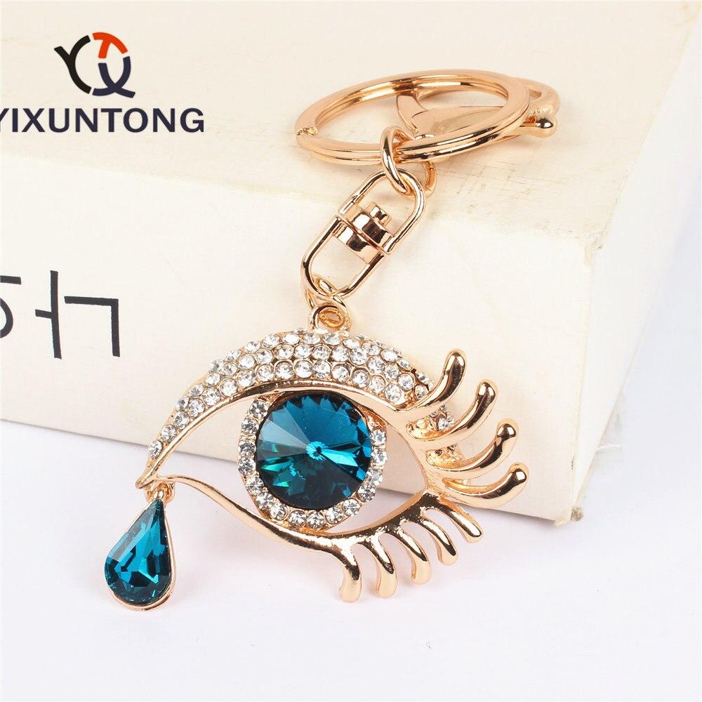 Ojo Azul Oscuro colgante en forma de lágrima encanto Diamante de imitación bolso de cristal bolso llavero boda fiesta amante amigo Carkey regalo