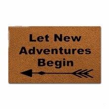 Rubber Doormat For Entrance Door Floor Mat Let New Adventures Begin Non-slip Doormat 23.6 inch by 15.7 inch Non-woven Fabric