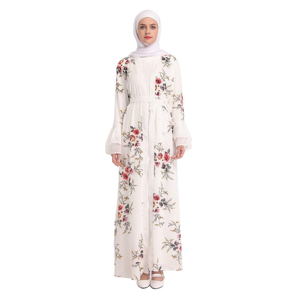 Moda de 2019, vestido abaya islámico musulmán para mujer, cárdigan, vestido de fiesta para Club, vestido estampado de flores, Marocaine de caftán, vestido jalabiya
