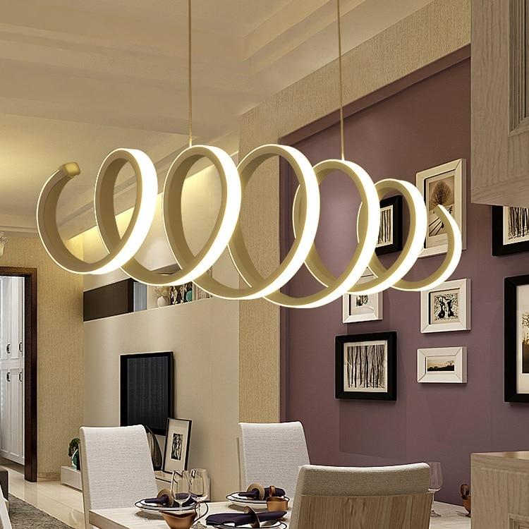 Креативная спиральная светодиодная люстра из алюминия и акрила для дома, столовой, спальни, офиса и коммерческого освещения, потолочные све...