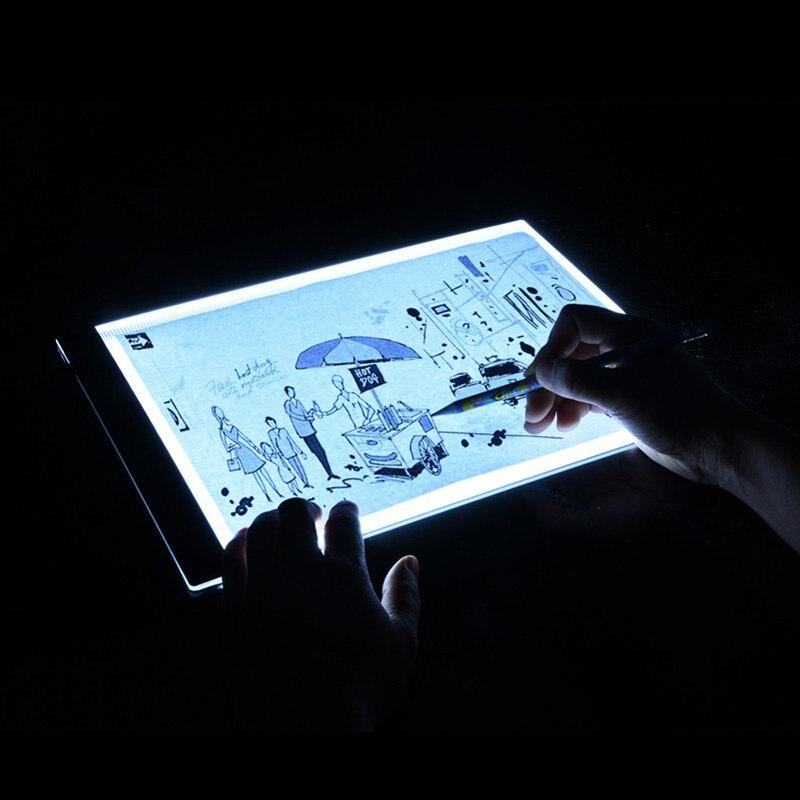 Tablero de dibujo con luz LED Ultra A4, mesa de dibujo, luz para tableta, bloc de dibujo, libro de dibujo, Lienzo en blanco para pintar, pintura de acuarela acrílica