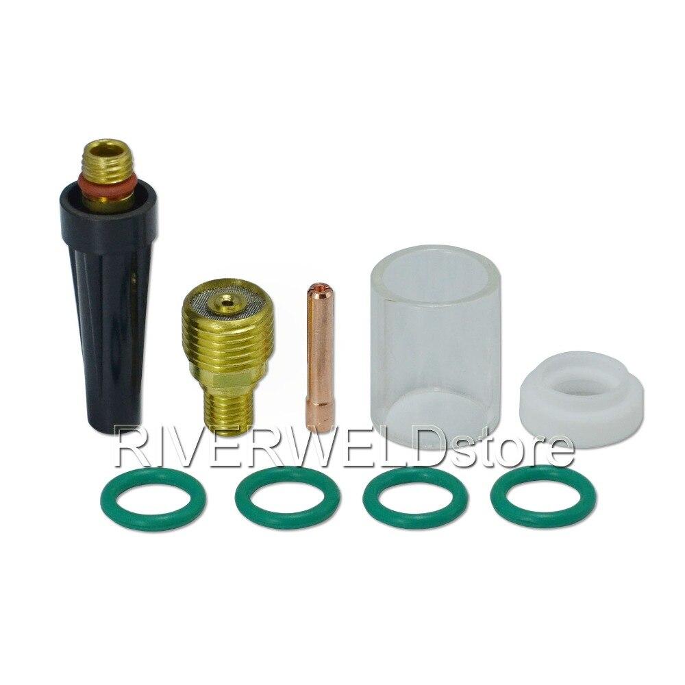 "Tig consumíveis corpo collet lente gás 1/16 ""1.6mm pinça 13n22 #10 pyrex copo de vidro kit para sr wp 9 20 25 tig tocha de soldagem 9 pçs"