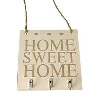 Nouveau   Home Sweet Home   etageres murales porte-cle de chapeau support de maison etagere de rangement crochets suspendus rangement de cintre